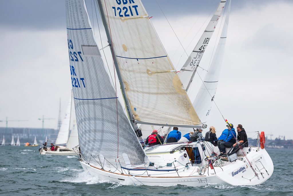 Eauvation from the Isle of Man competing in the Beneteau 31.7 class at the Volvo Dun Laoghaire Regatta 2017 where a fleet of 475 boats have gathered for the biennial four day series.
